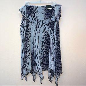 Lane Bryant Grey Purple Animal Print Uneven Skirt